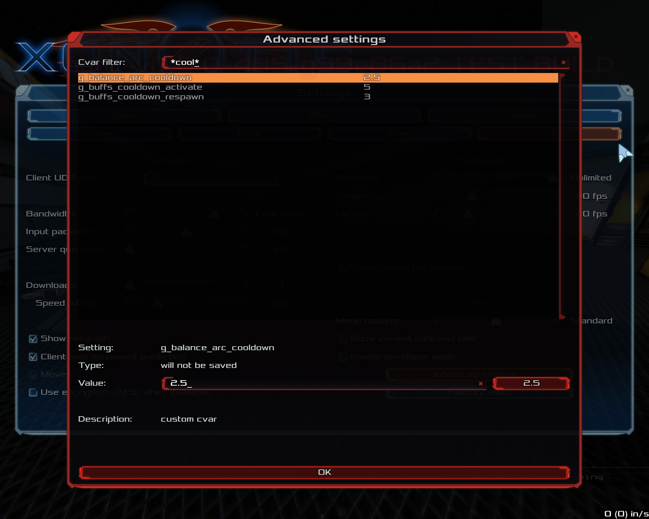 The Xonotic advanced settings panel